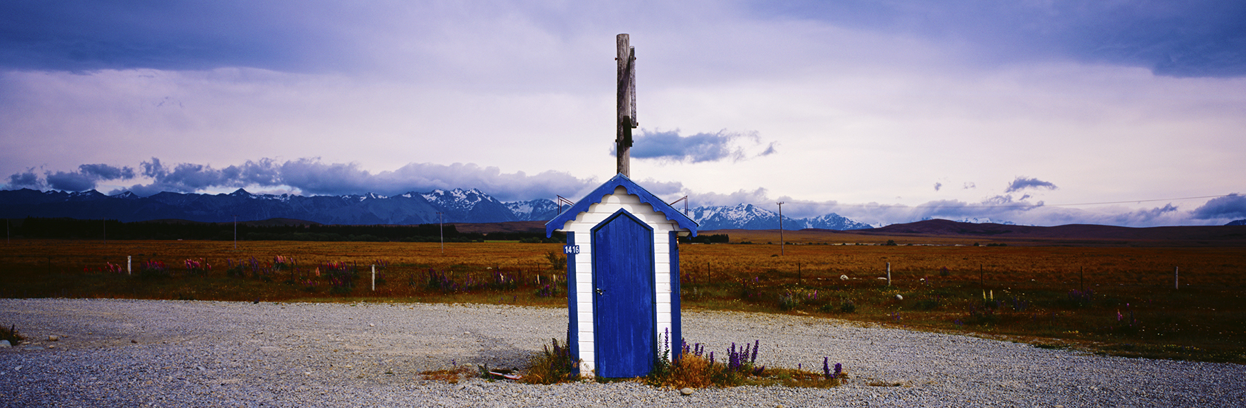 Blue Hut on SH8, Mackenzie District, New Zealand. A Limited Edition Fine Art Landscape Photograph by Richard Hume